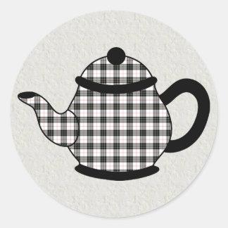 Macpherson Tartan Plaid Teapot Classic Round Sticker