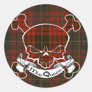 MacQueen Tartan Skull Classic Round Sticker