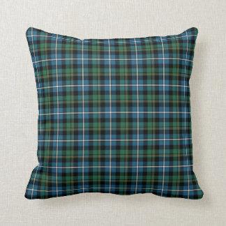 MacRae Clan Green and Blue Hunting Tartan Throw Pillow