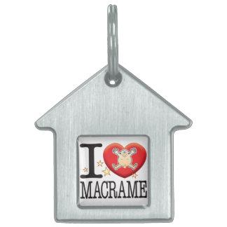 Macrame Love Man Pet Name Tag
