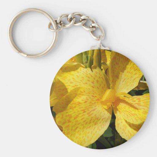 Macro amarilla soleada del lirio llavero redondo tipo pin
