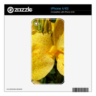 Macro amarilla soleada del lirio skins para eliPhone 4S