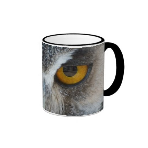 Macro Black and White Owl Ringer Coffee Mug