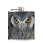 Macro Black and White Scops Owl Hip Flask