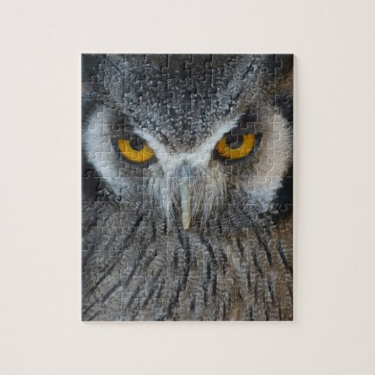 Macro Black and White Scops Owl Jigsaw Puzzle