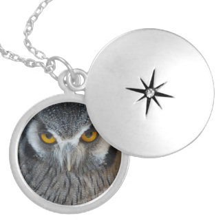 Macro Black and White Scops Owl Round Locket Necklace