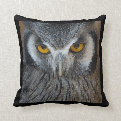 Macro Black and White Scops Owl Throw Pillow
