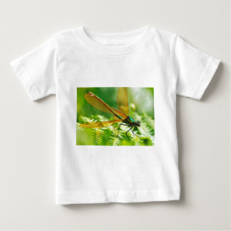 Macro damselfly on fern t shirts