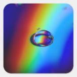 Macro de la gotita de agua calcomanía cuadradas personalizadas