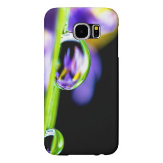 Macro Drop of Water on Blade Grass Purple Flower Samsung Galaxy S6 Case