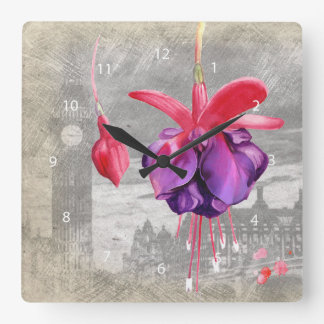 Macro flower fuchsia square wall clock
