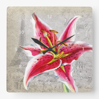 Macro flower lily square wall clock