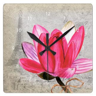 Macro flower lotus square wall clock