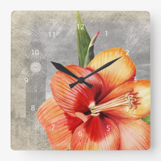 Macro flower tiger lily square wall clock