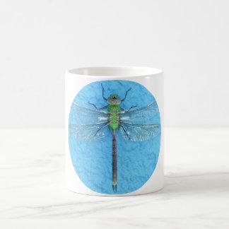 Macro Green Dragonfly on Blue Background Coffee Mug
