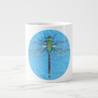 Macro Green Dragonfly on Blue Background Giant Coffee Mug