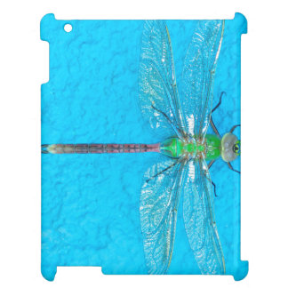 Macro Green Dragonfly on Blue Background iPad Covers