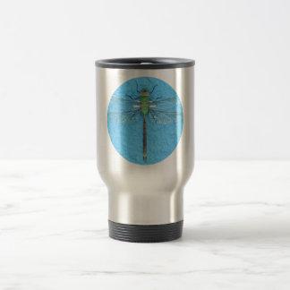 Macro Green Dragonfly on Blue Background Travel Mug
