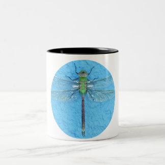 Macro Green Dragonfly on Blue Background Two-Tone Coffee Mug