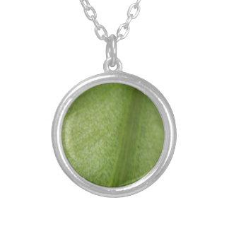 Macro Leaf Round Pendant Necklace
