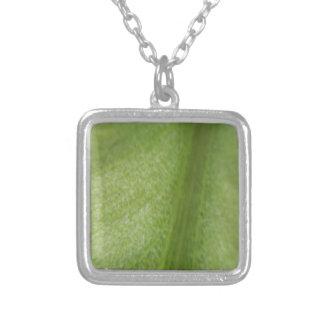 Macro Leaf Square Pendant Necklace