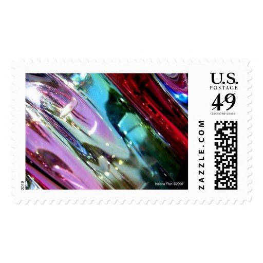 Macro Multicoloured Glass Postage Stamp