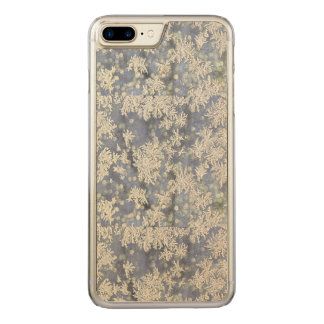 Macro Nature Photo of Frost on Blue Metal Carved iPhone 7 Plus Case