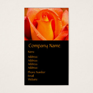 Macro Orange and Yellow Rose Business Card