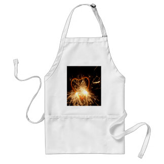 Macro photo of a burning sparkler in form of a hea adult apron
