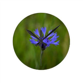 Macro photo of a cornflower (Centaurea cyanus) Round Clock