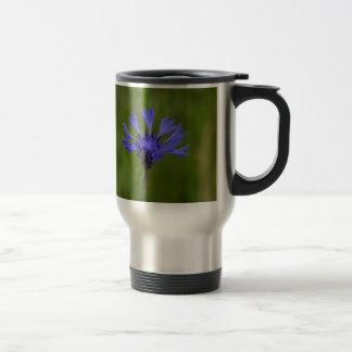 Macro photo of a cornflower (Centaurea cyanus) Travel Mug