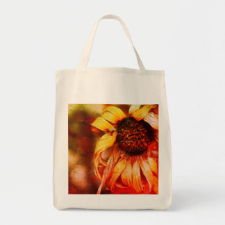Macro photo of a flower grocery tote bag