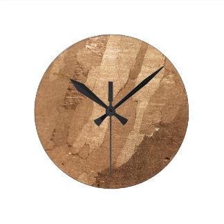 Macro photo of an iron meteorite round clock