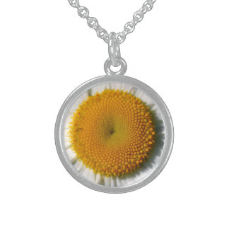 """MACRO PHOTO OF DAISY'S GOLDEN CENTER"""" (FLORAL PHOT STERLING SILVER NECKLACES"""