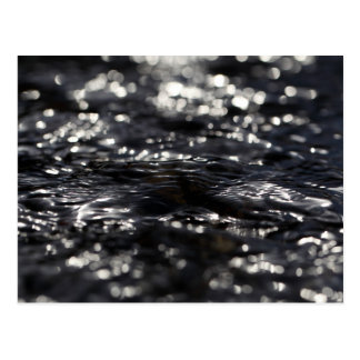 Macro photo of the surface of water in a creek postcard