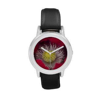 Macro Pink and Purple Poppy Flower Wrist Watch