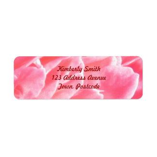 Macro pink flower petals label