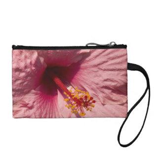 Macro Pink Hibiscus Flower Change Purse