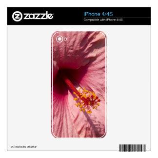 Macro Pink Hibiscus Flower Decals For iPhone 4S