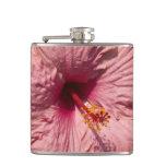 Macro Pink Hibiscus Flower Flask