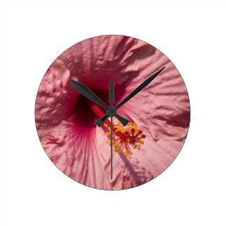 Macro Pink Hibiscus Flower Round Clock