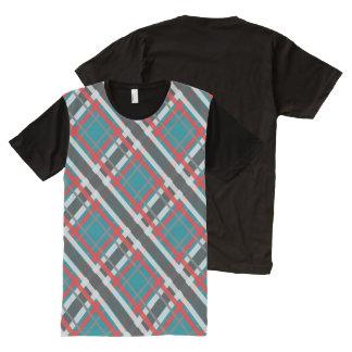 Macro Plaid ~ Red, White & Grey on Aqua All-Over Print T-shirt