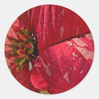 Macro Poinsettia Round Seals (Stickers)