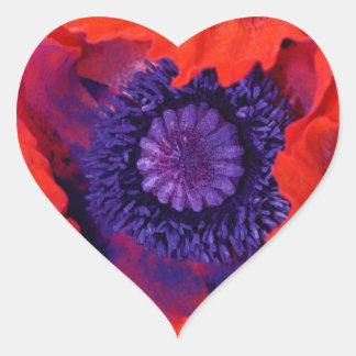Macro Poppy Heart Sticker