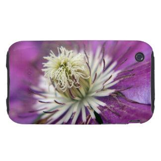 Macro Purple Clematis Flower Tough iPhone 3 Cases