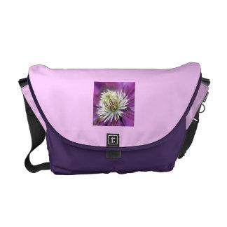 Macro Purple Clematis Flower Messenger Bag