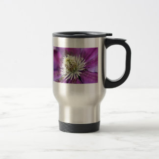 Macro Purple Clematis Flower Travel Coffee Mug