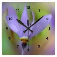 Macro Purple Flower Wall Clock