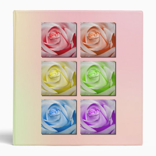Macro Rainbow Roses 3 Ring Binder