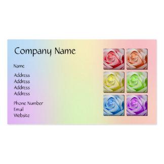 Macro Rainbow Roses Business Card Template